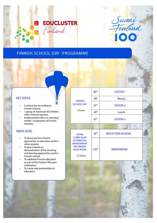 Finnish School Day programme Oc 2017