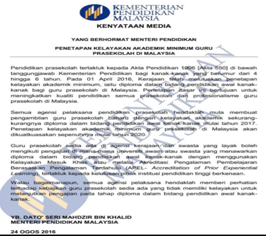 Is Dece The Minimum Required Qualification For Preschool Teachers In Malaysia Montessori Embryo